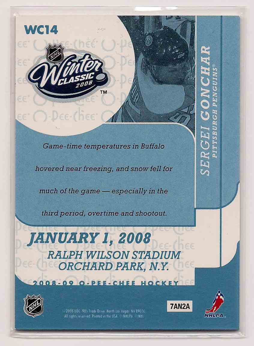 2008-09 O-Pee-Chee Winter Classic Sergei Gonchar #WC14 card back image