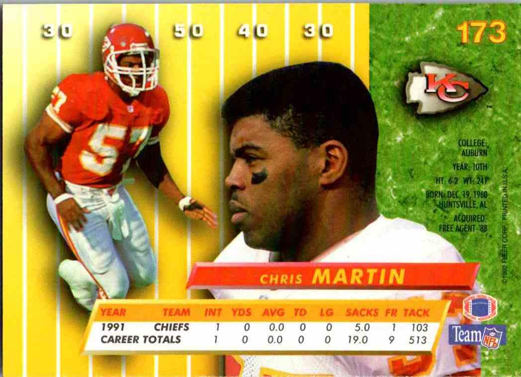 1992 Fleer Ultra Chris Martin #173 card back image