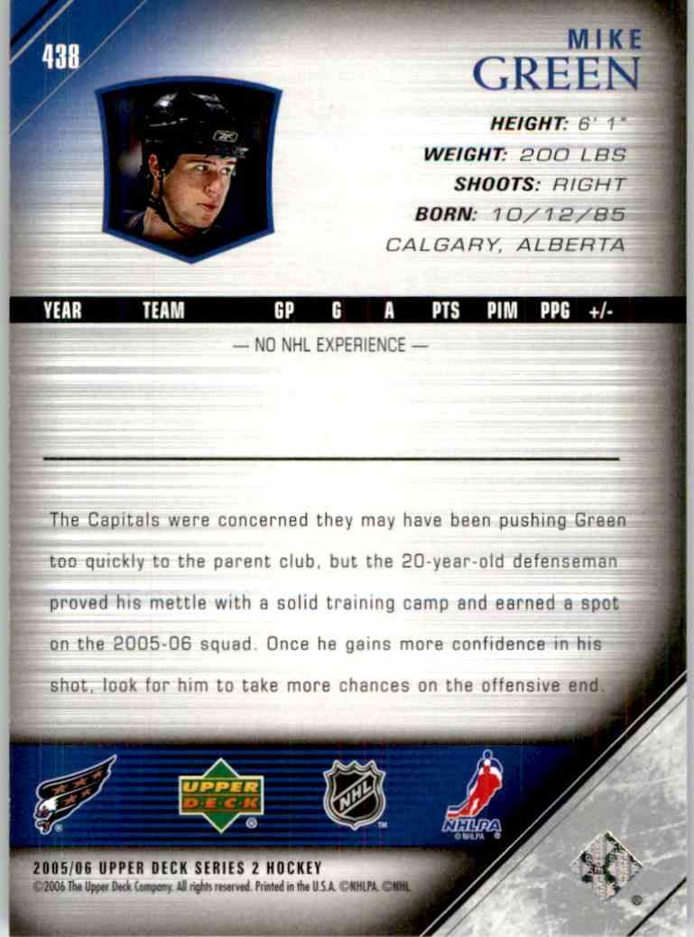 2005-06 Upper Deck Mike Green #438 card back image