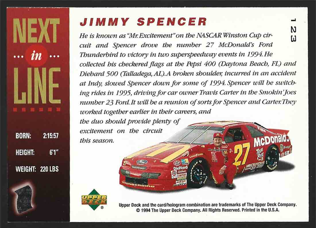1994 Upper Deck Jimmy Spencer #123 card back image