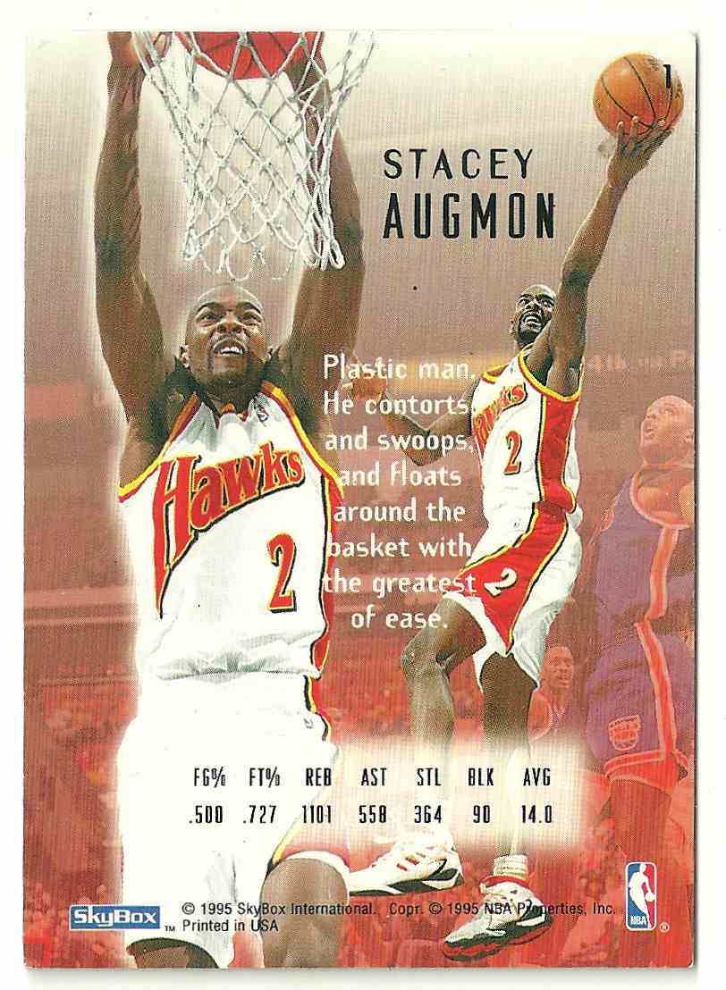 1995-96 Skybox Stacey Augmon #1 card back image