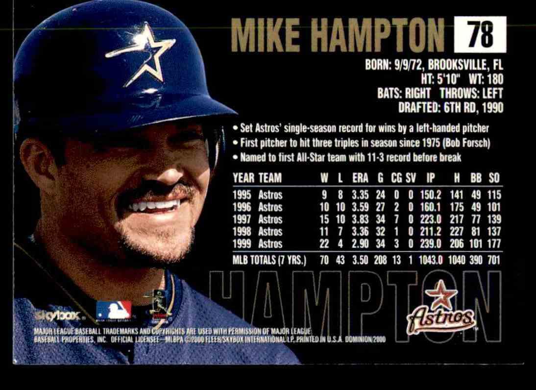 2000 SkyBox Dominion Mike Hampton #78 card back image