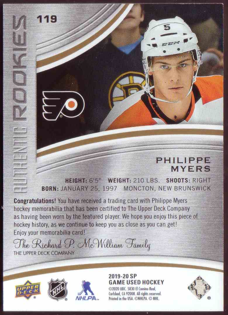 2019-20 SP Game Used Gold Jersey Phillippe Myers #118 card back image