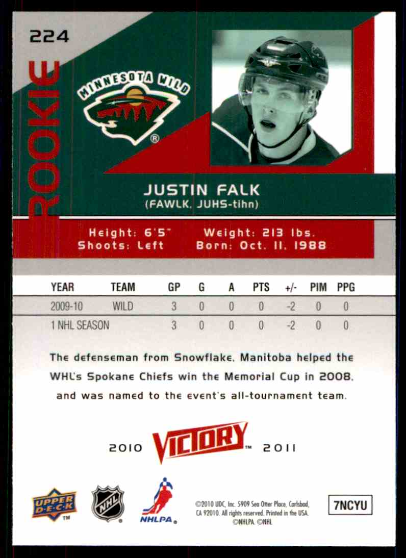 2010-11 Upper Deck Victory Rookie Justin Falk #224 card back image