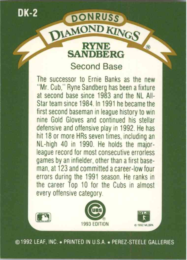1992 Donruss Ryne Sandberg #DK2 card back image