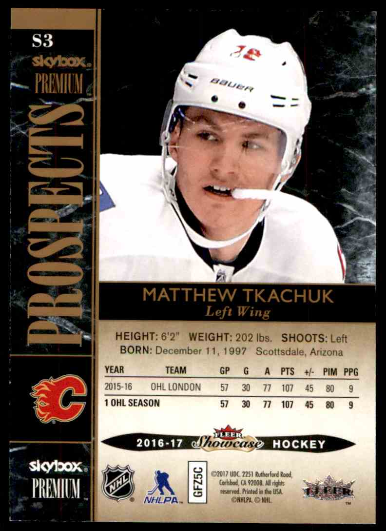 2016-17 Fleer Showcase SkyBox Premium Prospects Matthew Tkachuk #S3 card back image