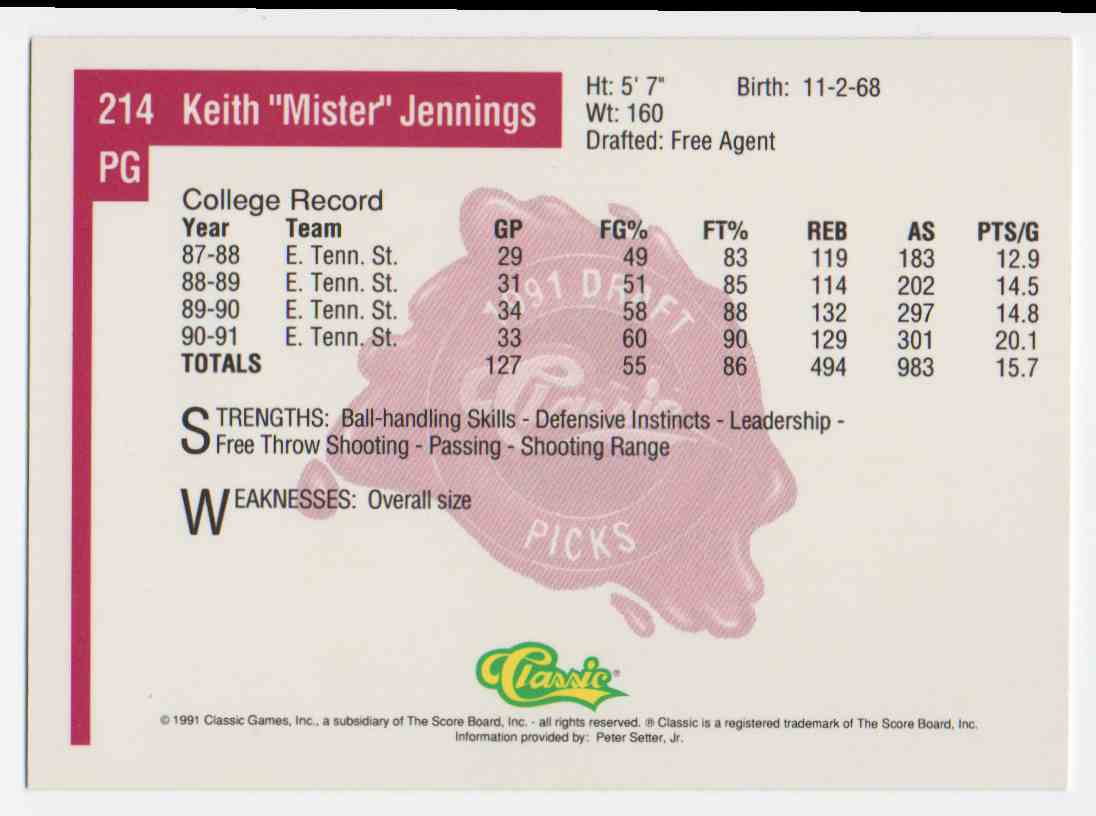 1991-92 Classic Draft Keith Jennings #214 card back image
