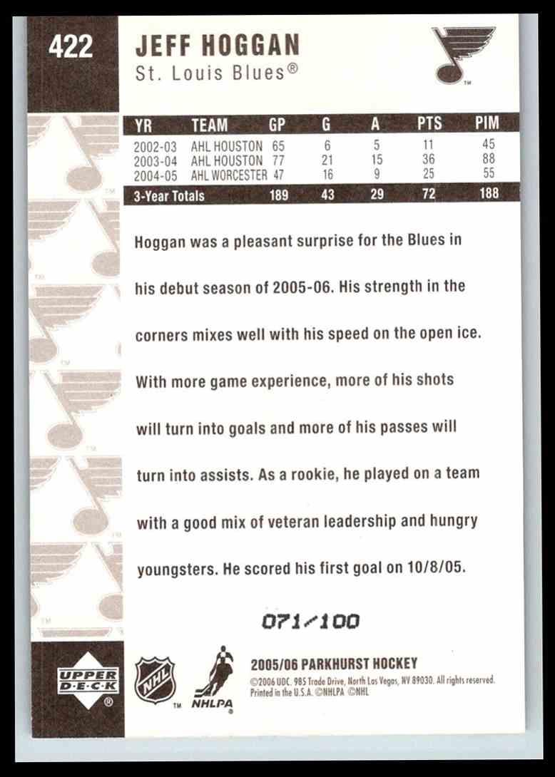 2005-06 Parkhurst Facsimile Auto Parallel Jeff Hoggan #422 card back image