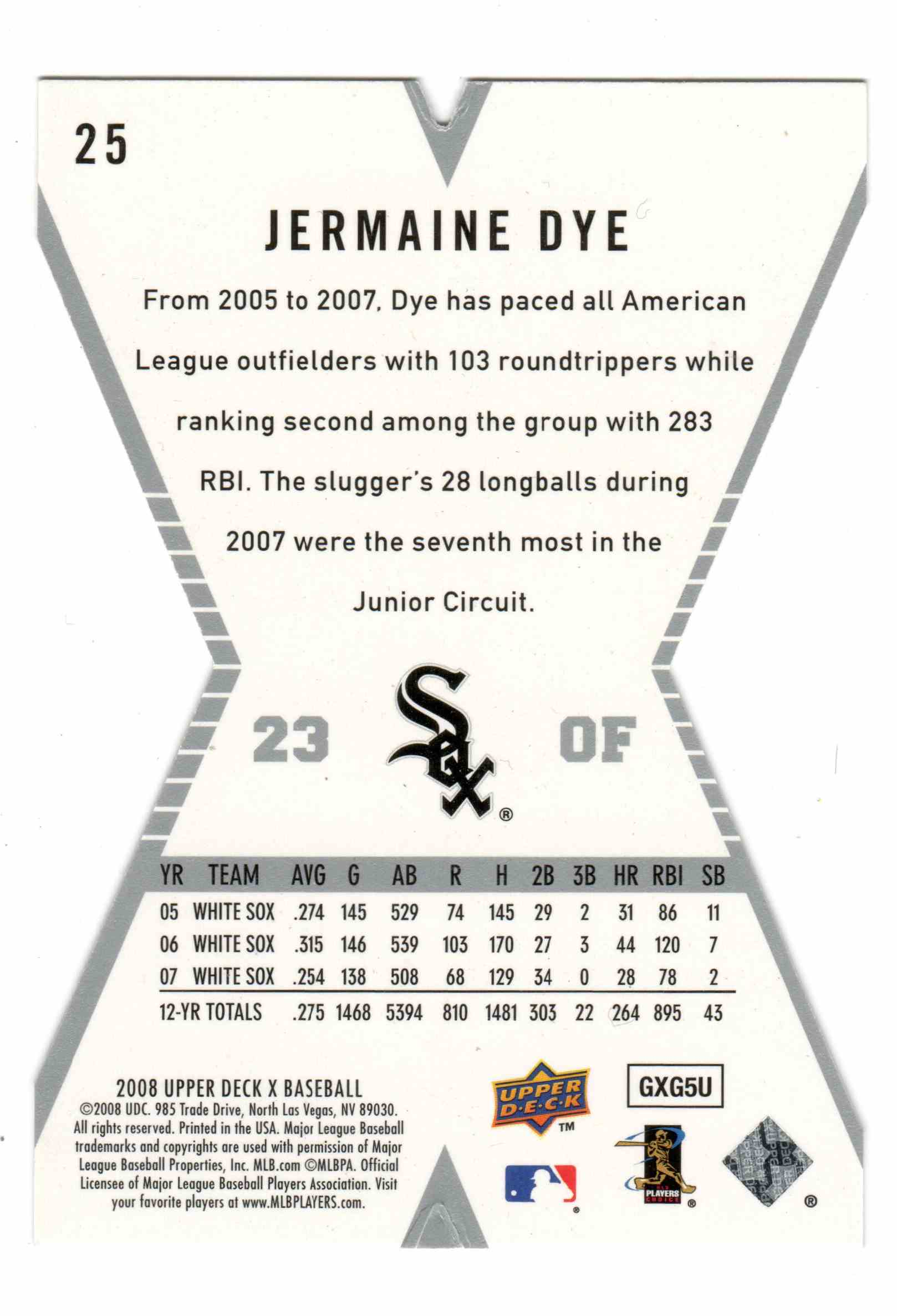 2008 Upper Deck X Jermaine Dye #25 card back image