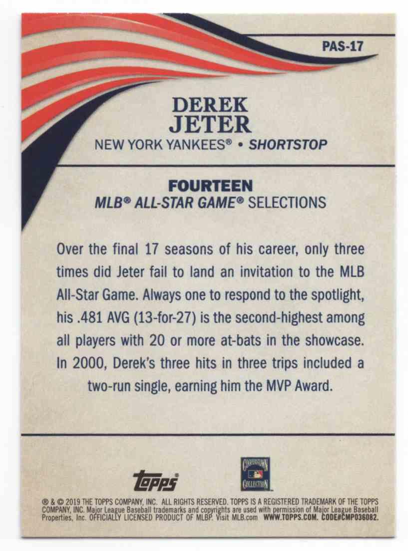 2019 Topps Update Perennial All-Stars Derek Jeter #PAS17 card back image