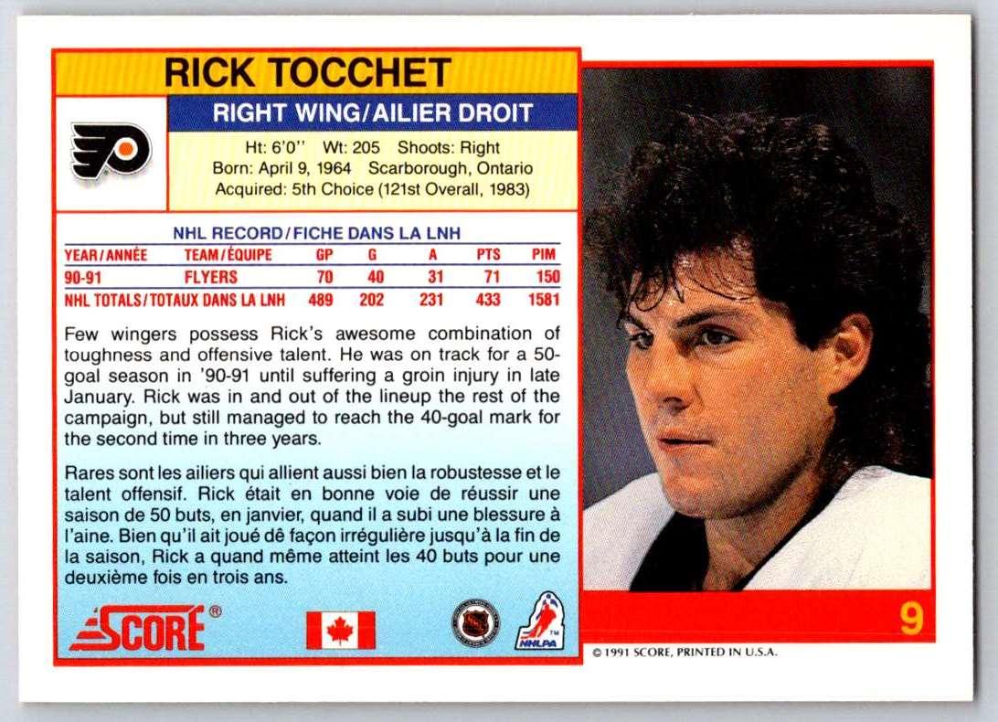 1991-92 Score Canadian Bilingual Rick Tocchet #9 card back image