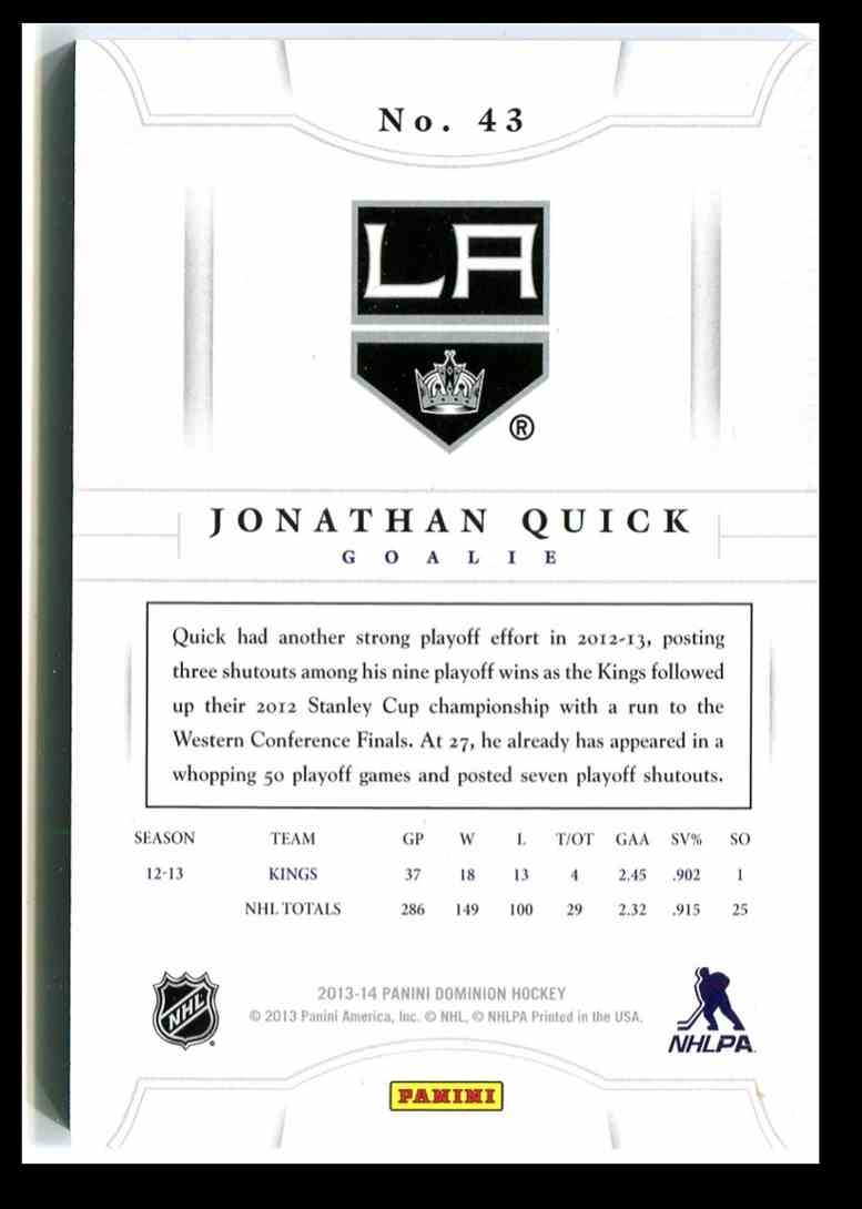 2013-14 Dominion Jonathan Quick #43 card back image