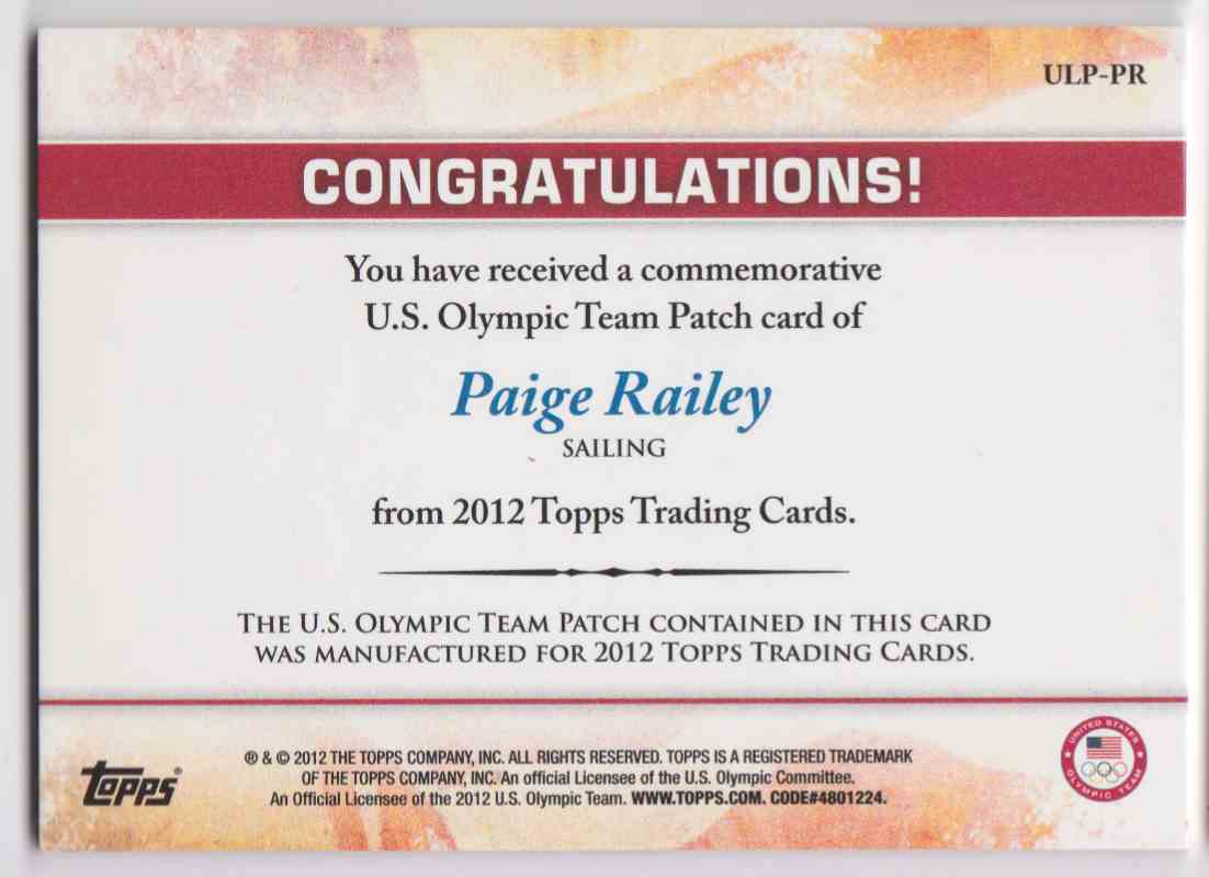 2012 Topps Commemorative U.S. Olympic Team Patch Paige Railey #ULP-PR card back image
