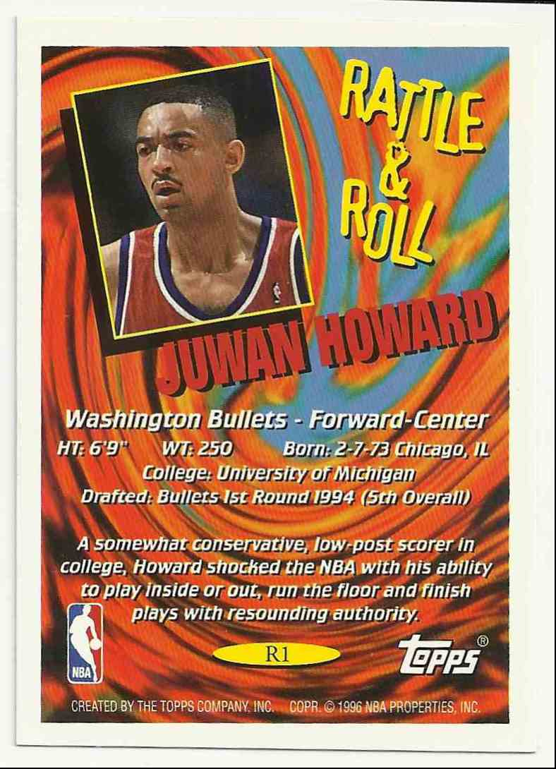 1996-97 Topps Rattle And Roll Juwan Howard #1 card back image