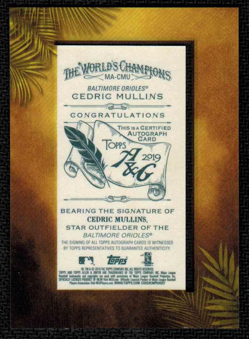 2019 Topps Allen & Ginter Cedric Mullins #MA-CMU card back image