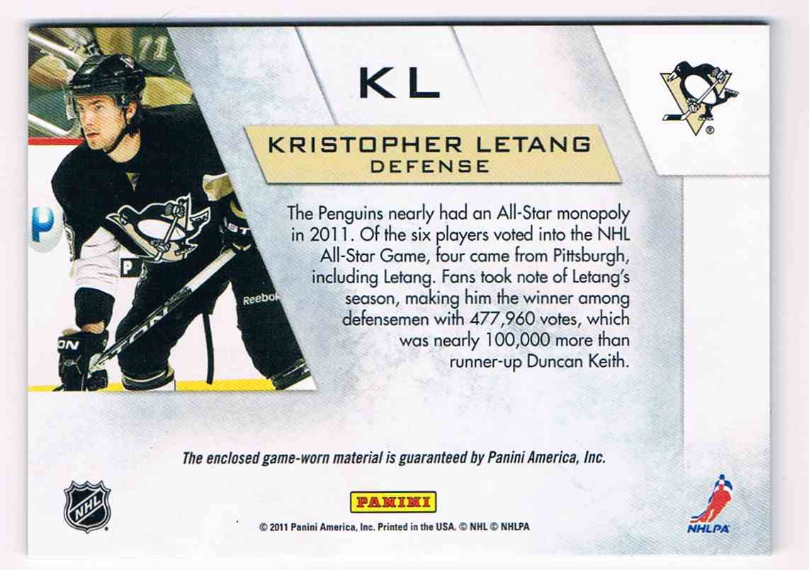 2010-11 Panini Zenith Winter Warriors Kristopher Letang #KL card back image