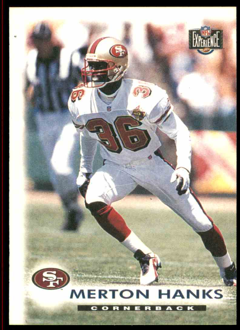 fbacaf25661 1996 Score Board NFL Experience Merton Hanks #92 card front image