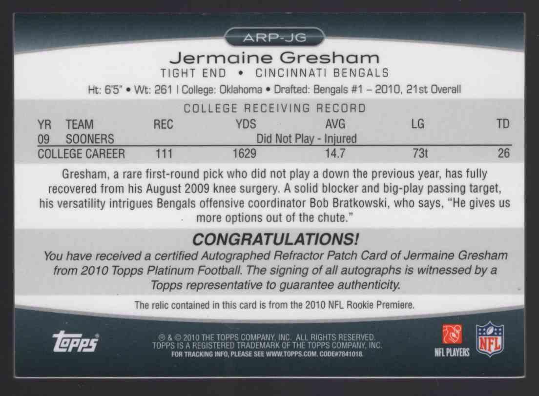 2010 Topps Platinum Autographed Patches Jermaine Gresham #ARPJG card back image