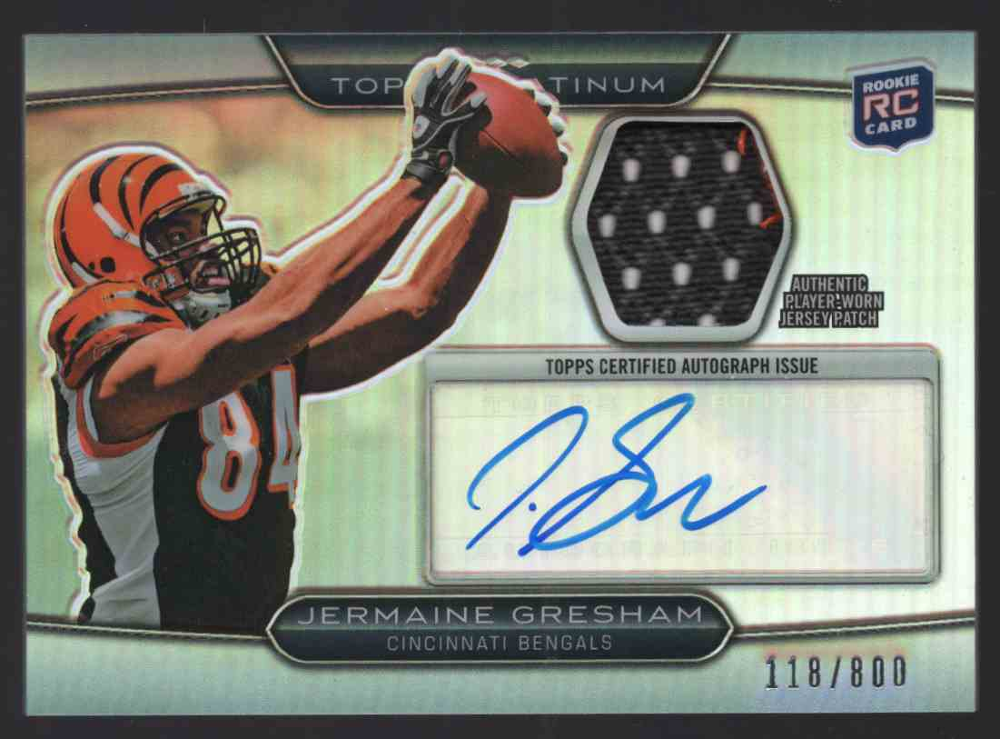 2010 Topps Platinum Autographed Patches Jermaine Gresham #ARPJG card front image