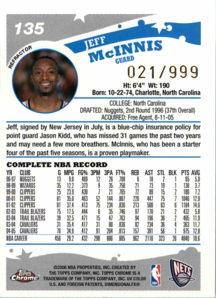 2006-07 Topps Chrome Jeff Mcinnis #135 card back image