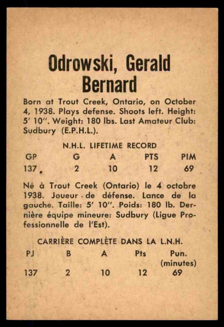1962-63 Parkhurst Gerry Odrowski (A) #20 card back image