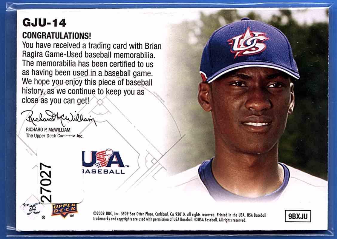 2009 Upper Deck Signature Stars USA Star Prospects Jerseys Brian Ragira #GJU14 card back image