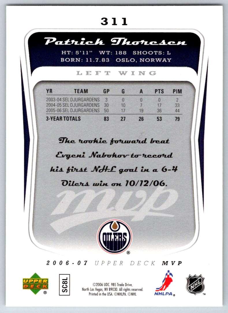 2006-07 Upper Deck MVP Patrick Thoresen #311 card back image