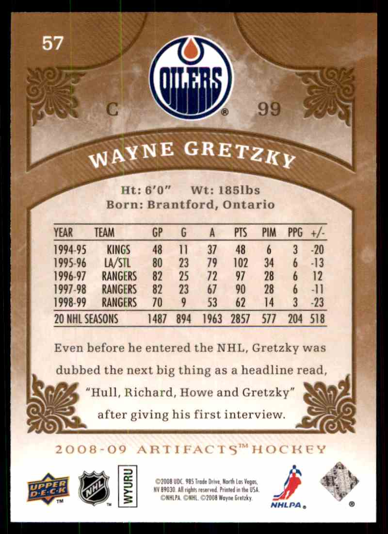 2008-09 Upper Deck Artifacts Wayne Gretzky #57 card back image