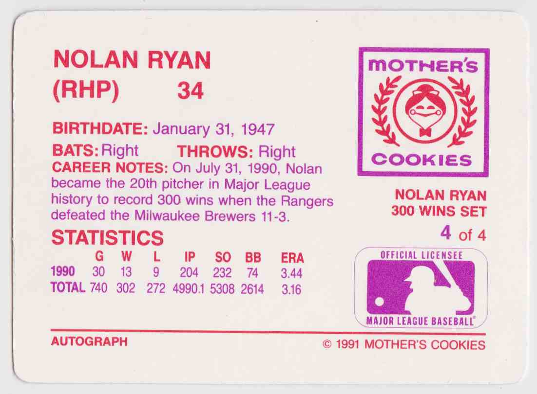 1991 Mother39s Cookies 300 Wins Set Nolan Ryan 4 On Kronozio