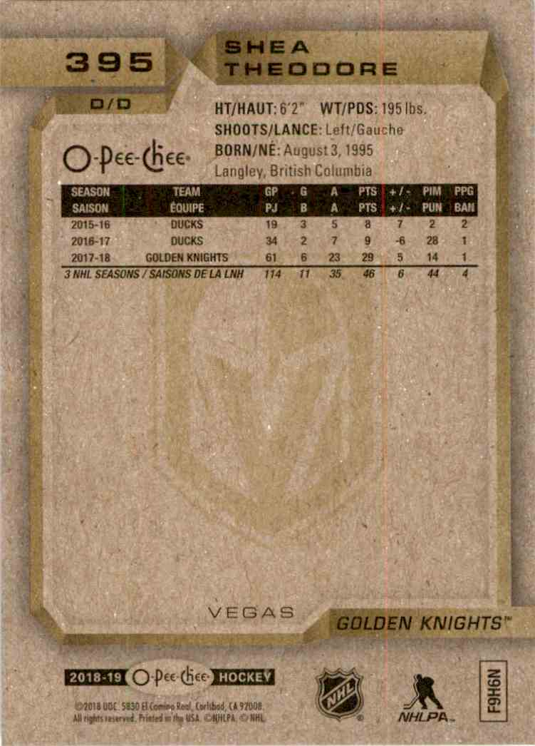 2018-19 O-Pee-Chee Gold Shea Theodore #395 card back image