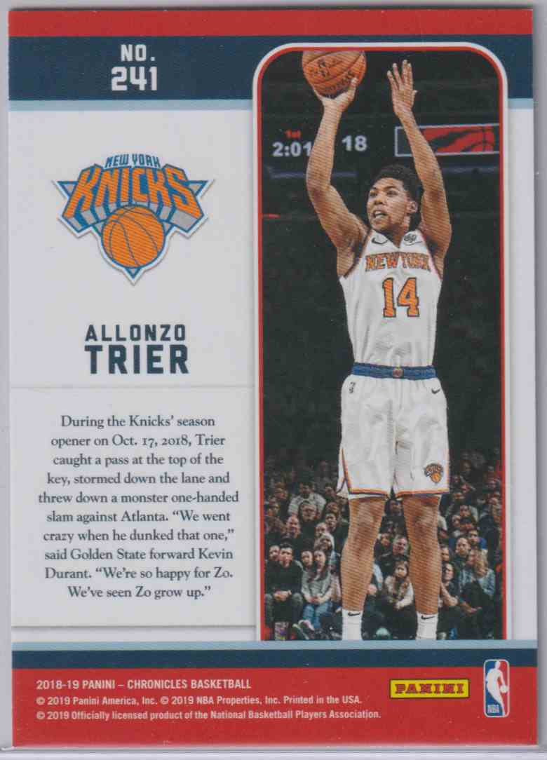 2018-19 Panini Chronicles Marquee Rookies Blue Alonzo Trier #241 card back image