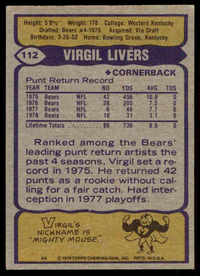 1979 Topps Virgil Livers #112 card back image