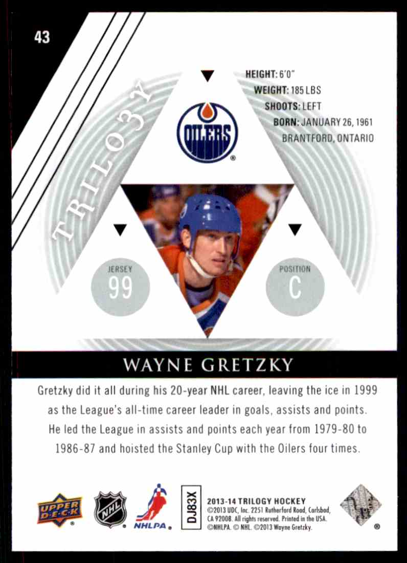2013-14 Upper Deck Trilogy Wayne Gretzky #43 card back image