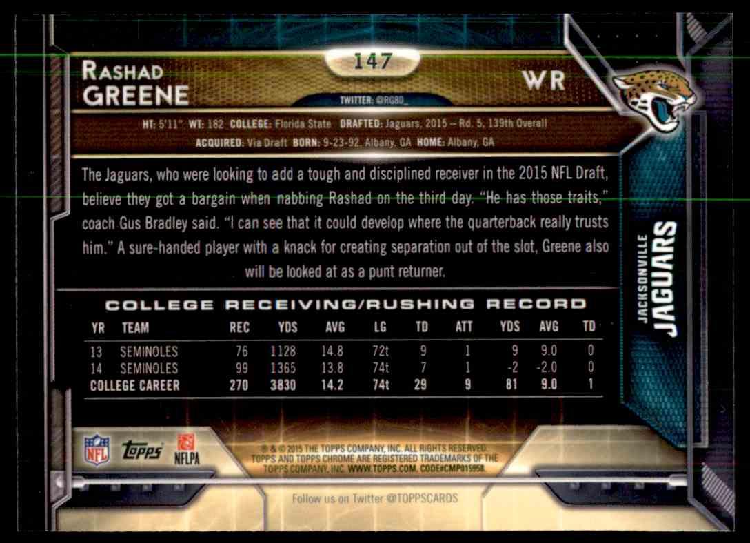 2015 Topps Chrome Purple Refractor Rashad Greene #147 card back image
