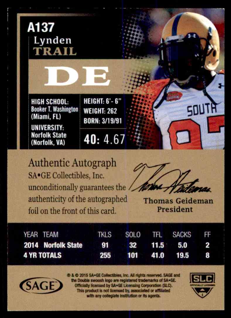 2015 Sage Hit Lynden Trail card back image