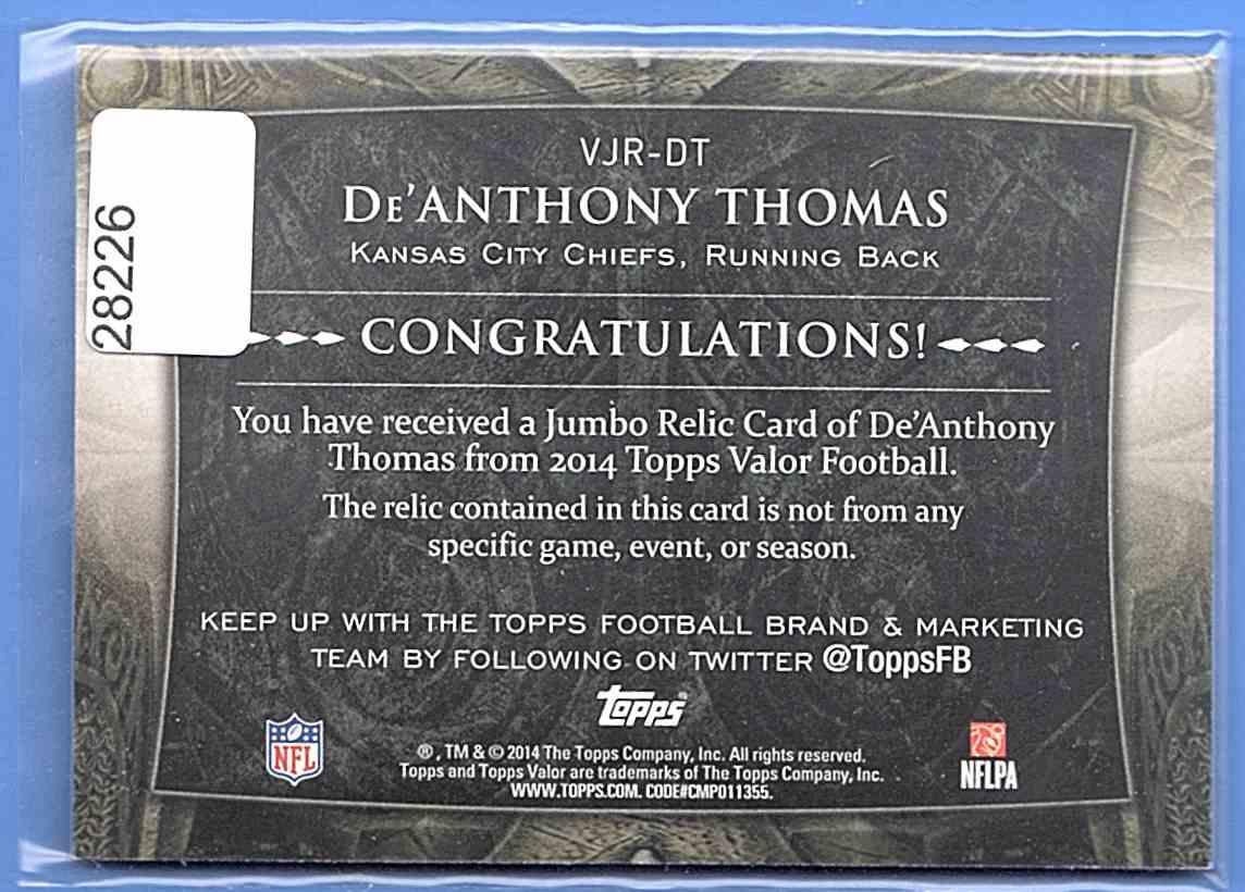 2014 Topps Valor Jumbo Relics De'Anthony Thomas #VJR-DT card back image