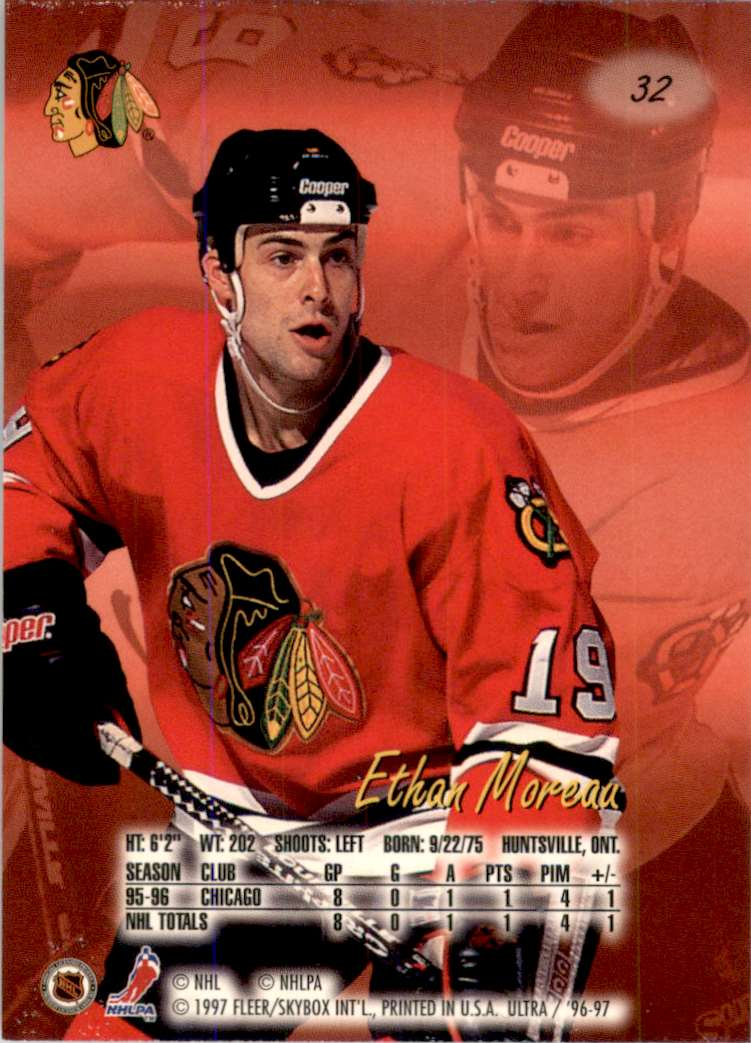 1996-97 Ultra Ethan Moreau RC #32 card back image
