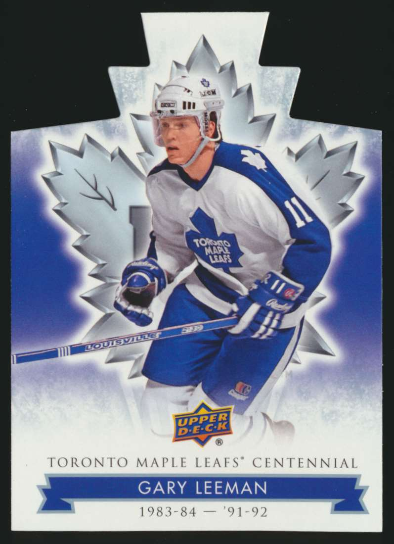 2017-18 UD Maple Leafs Centennial Die Cut Gary Leeman #28 card front image