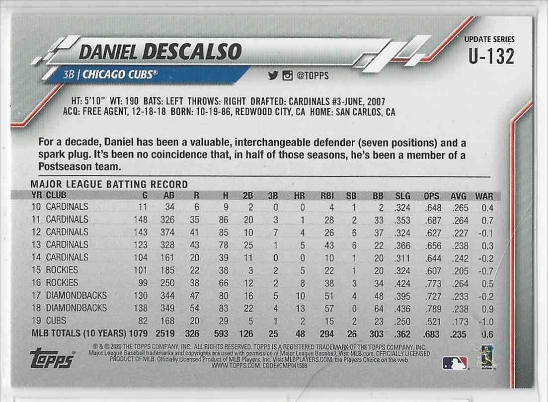 2020 Topps Update Foil Daniel Descalso #U-132 card back image