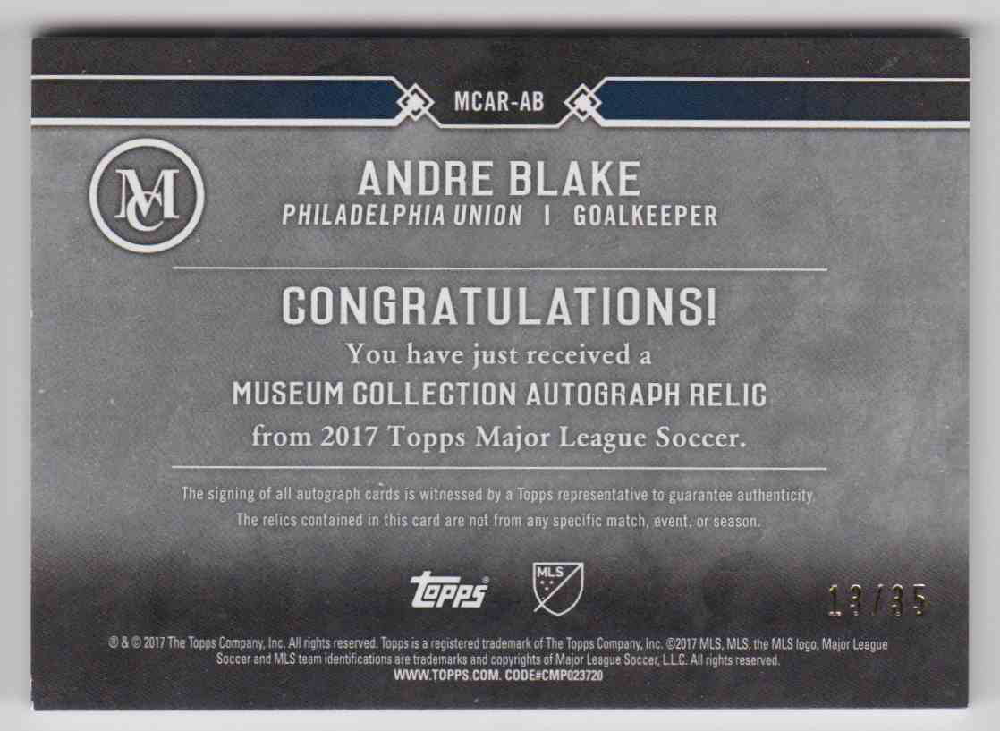 2017 Topps MLS Museum Collection Andre Blake #MCAR-AB card back image