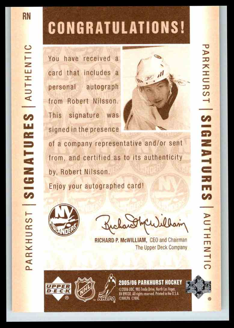 2005-06 Parkhurst Signatures Robert Nilsson #RN card back image