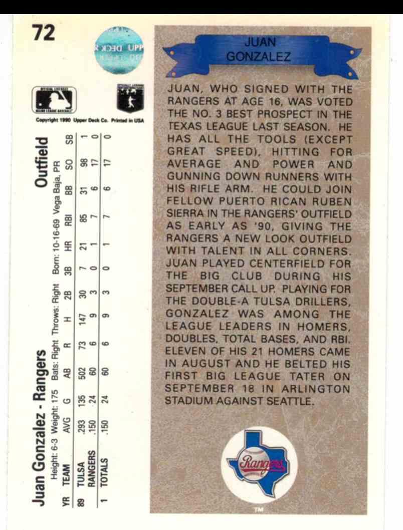 1990 Upper Deck Juan Gonzalez #72 card back image