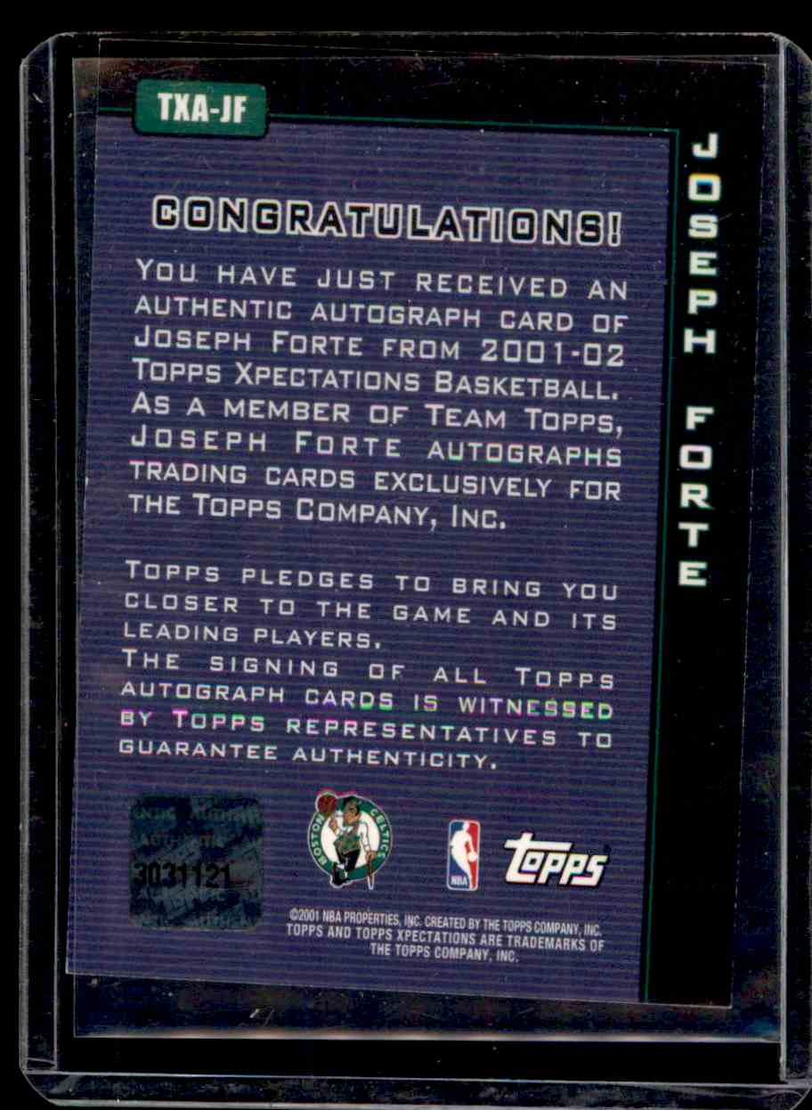 2001-02 Topps Xpectations Autographs Joseph Forte #TXAJF card back image