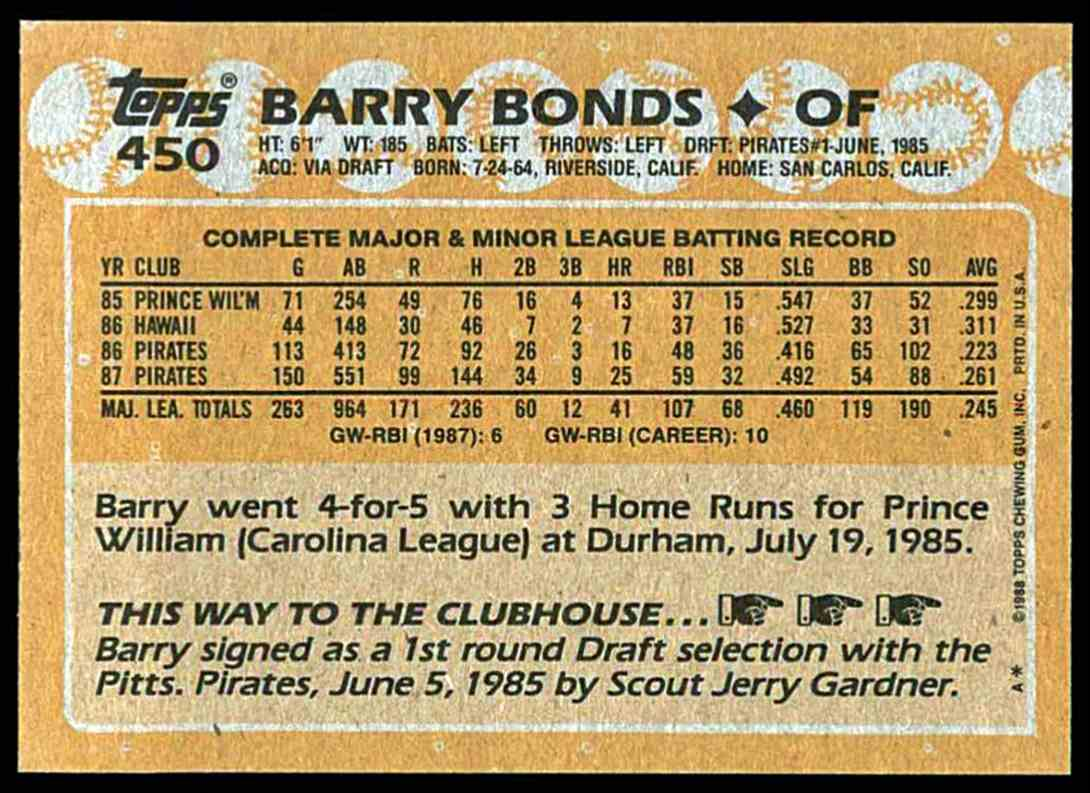 1988 Topps Barry Bonds #450 card back image