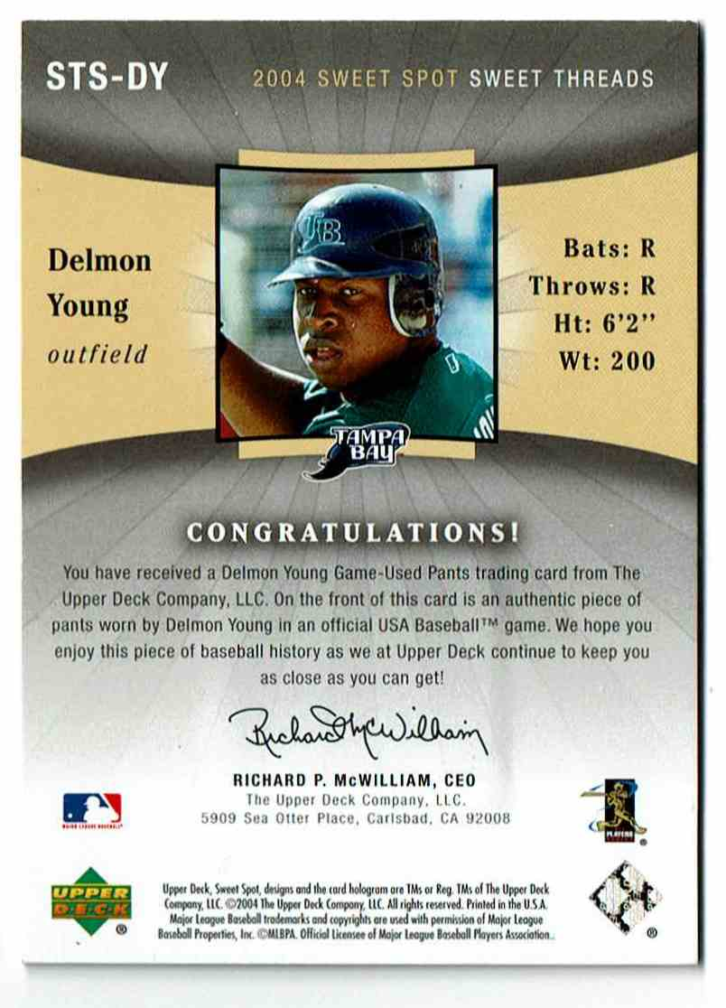 2004 Upper Deck Sweet Spot Delmon Young #DY card back image