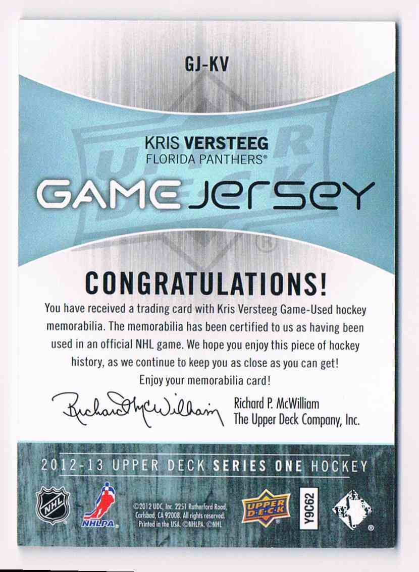 2012-13 Upper Deck Series One Kris Versteeg #GJ-KV card back image