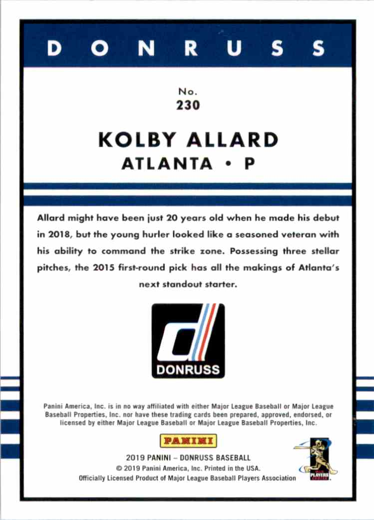 2019 Donruss Kolby Allard Retro RC #230 card back image