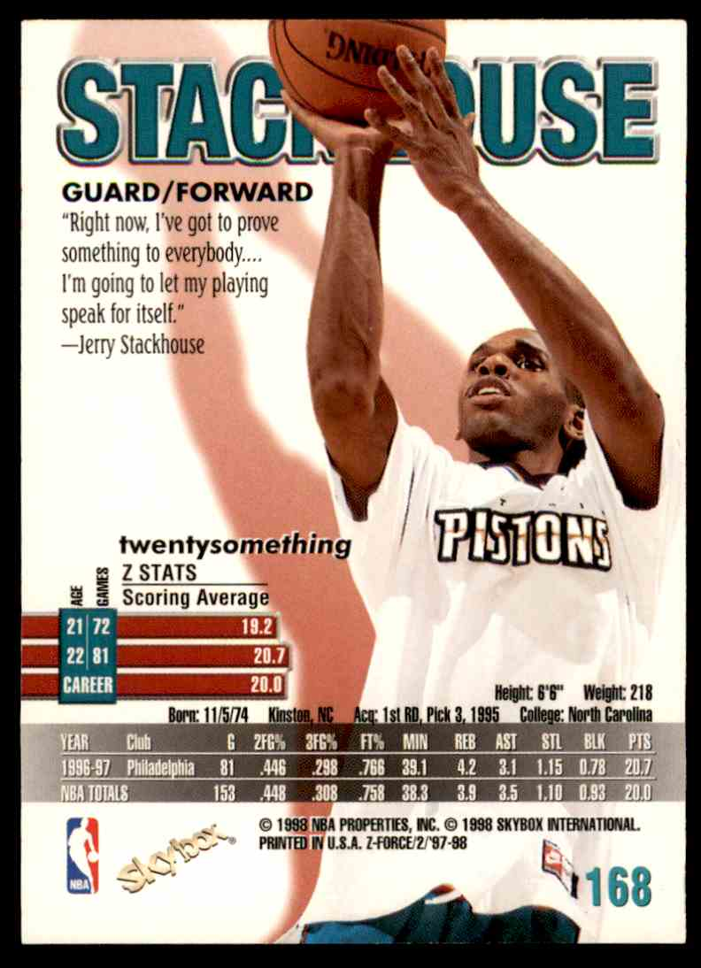 1997-98 Skybox Z Force Jerry Stackhouse #168 card back image
