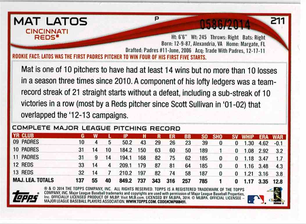 2014 Topps Opening Day Blue Mat Latos #211 card back image