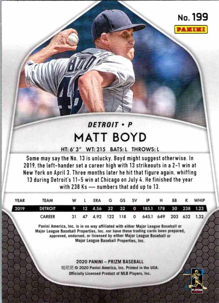 2020 Panini Prizm MLB Matt Boyd #199 card back image